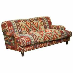 GEORGE SMITH SIGNATURE SCROLL ARM KILIM UPHOLSTERED SOFA ORIGINAL UPHOLSTERY
