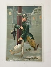 """Signed """"Father Buys The Goose"""" Yule-Tide Comic Christmas Postcard P173"""