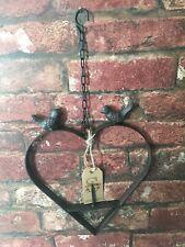 Cast Iron Bird Feeder Antique Rust Hanging Heart