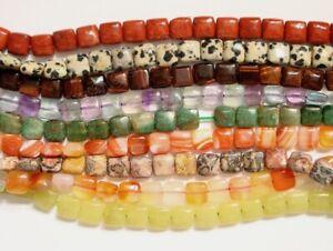 Semi Precious Stone, 8mm, 10mm, 12mm Puff Square Beads
