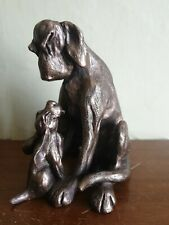 More details for bloodhound figure, frith cold cast bronze 'amber and pup'