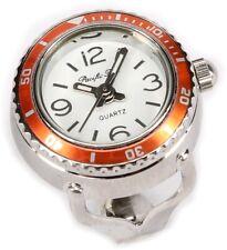 Ring Uhr sportlich orange versilbert Fingeruhr Quartzwerk Qualität Ringuhr neu