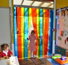School Nursery Rainbow Style PVC Strip Curtain 1.5m (w) x 2m (d) - 200mm x 2mm