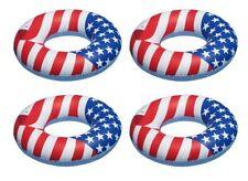 "Swimline 36"" Inflatable American Flag Swimming Pool and Lake Tube Float (4 Pack)"