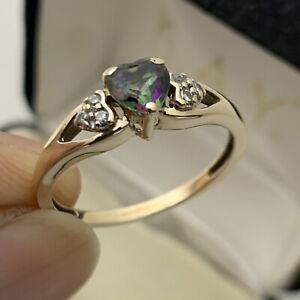 10K YELLOW GOLD MYSTIC 0.49 TCW TOPAZ & DIAMOND RING SIZE 7 1/4