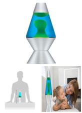 Lava Lamp Original Liquid Motion Night Light Silver Base Yellow Wax Blue Liquid