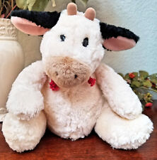 Gund Barnyard Spotted Cow Farm Animal Red Rope Eyelashes Bean Bag Plush 8""