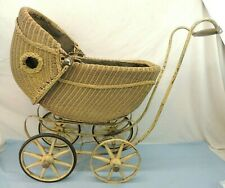 New ListingVintage / Antique Wicker Baby Doll Carriage Stroller Buggy Tan