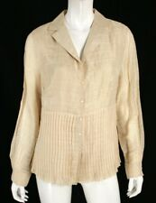AKRIS Beige Linen Blend Striped Jacquard Pleated Button-Front Blouse 14