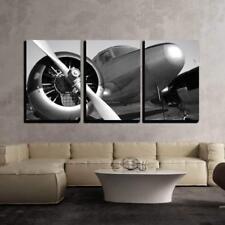 "Wall26 - Vintage Twin Engine Airplane - Canvas Art Wall Decor - 16""x24""x3 Panels"