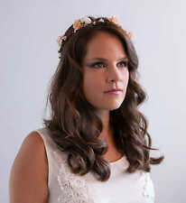 Peach White Rose Floral Crown Bridal Halo Flower Girl Bridesmaid Garland