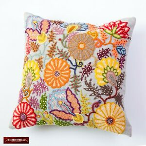 "Throw pillow case 16x16""- Embroidered Pillow Cover, Accent wool pillowcases home"