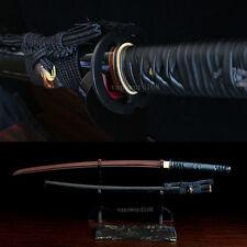 Red damascus folded steel blade japanese Katana samurai sword Buffalo Horn saya.