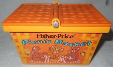 Fisher Price Fun Teddy Bear Picnic Basket 677 NO HANDLE Pretend Play VTG Toy '74