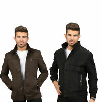 Mens Bomber Winter Warm Fabric Long Sleeve Stylish Zip up Jacket Top Over Coat