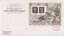 GB Royal Mail FDC 1990 Penny Black Sello Hoja Pegatina Truro PMK Po