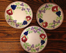 "3 SOCIETE CERAMIQUE MAESTRICHT 6"" Plates~HOLLAND~Va. ROSE -Stick Spatterware"