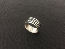 VINTAGE 1980'S STERLING SILVER GREEK KEY RELIEF MENS HANDMADE DESIGNER RING SZ.9