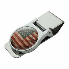 Rustic American USA Flag Distressed Satin Chrome Plated Metal Money Clip