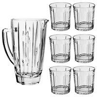6x Whiskey Bourbon Tumbler Glasses Glass 1.3L Jug Pitcher Drinks Xmas Gift Set