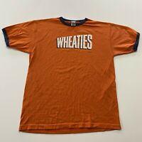 Vintage Wheaties T-Shirt Size L Orange Breakfast Of Champions Retro