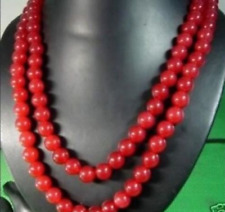 Natural 8mm Round Red Jade Gemstone Bead Necklaces 48""