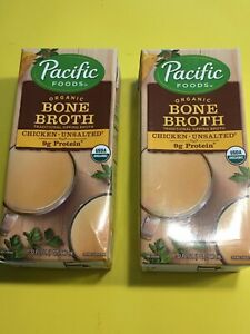 NEW Pacific Foods Organic Bone Broth (Chicken-Unsalted) 32oz 2-pk Free Shipping
