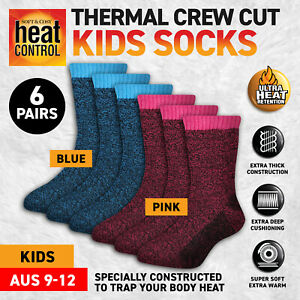 6 Pairs Kids Socks Thermal Crew Cut Cushioned Warm Thick 2 Colours Size 9-12