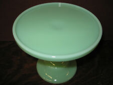 Jadeite green Glass cake serving stand plate platter pedestal jade milk wedding
