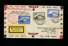 Zeppelin Sieger 57N 1930 1st SouthAmericaFlight toLakehusrt  3color zep franking