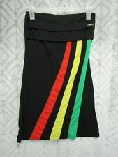 Coogi Sundress Size S Black Multi Color Stripes Strapless Rare Jersey Style