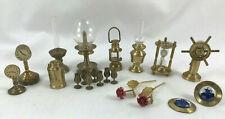 20pc Lg Lot Brass Dollhouse Miniatures Lamps Clock Goblets Sandtimer Holland