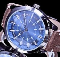Excellanc Herren Armband Uhr Hellblau Braun Armband L-9