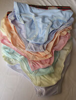3 x Full Briefs Knickers Panties Embroidery Pastel Colours