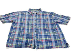 Tommy Bahama Shirt Blue Red Green Short Sleeve Button Up Silk Madras Mens Large