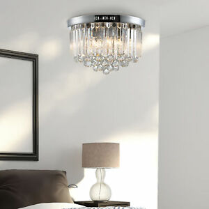 Luxurious Crystal Ceiling Light Chandelier for Living Room Kitchen Hall Silver