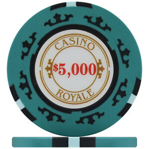 Crown Casino Royale 14g Poker Chips - Teal $5,000 (Roll of 25)
