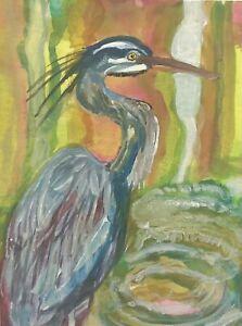 Blue Heron Bird ACEO ATC original art card miniature collectible Unique Painting