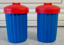 ALLEY CATS ~ 2 SPARE BLUE DUSTBINS WITH RED LIDS