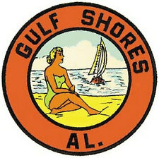 Gulf Shores, Alabama Vintage-Style  1960's Travel Decal