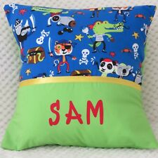 BOYS / BABY PERSONALISED NAME CUSHION COVER/NURSERY/GIFT - PIRATE ANIMALS -
