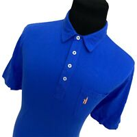 Mens L Johnnie-O West Coast Prep Blue Short Sleeve Pocket Polo Shirt Large