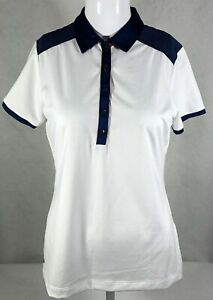 EP New York 5 Button Polo Short Sleeve Women's Small White Blue NWT