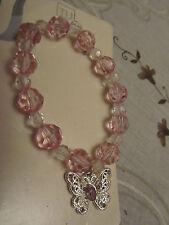 Rose & Transparent à Facettes Plastique Perles & Butterfly Charm élastique Bracelet-Nouveau