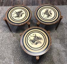 Lot of 3 MCM Greek Horsman Stacking Nesting Tables Vintage