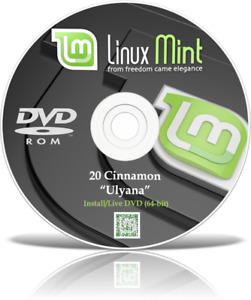 Linux Mint 20 Ulyana Cinnamon 64bit O/S DVD 2020 Live or Full Install on any PC