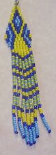 """Yellow Blues Seed Bead Native Style Earrings 4+"""" LONG Handmade In USA By Me"""