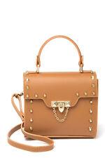 PERSAMAN NEW YORK Candelaria Stud Leather Crossbody Satchel Gold H/W NEW w/ Tags