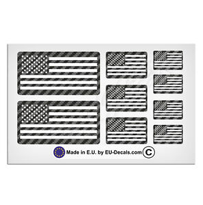 9X USA American flags Carbon Background & White Laminated Decals Stickers racing