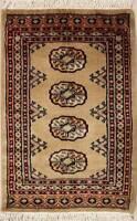 Rugstc 2x3  Bokhara Jaldar Beige Area Rug,Genuine Hand-Knotted, Wool Pile